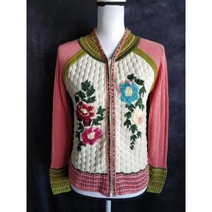 IVKO Pink Knit Embroidered Zip Sweater Jacket 8